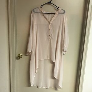 Fred David XL pink high low long sleeve top